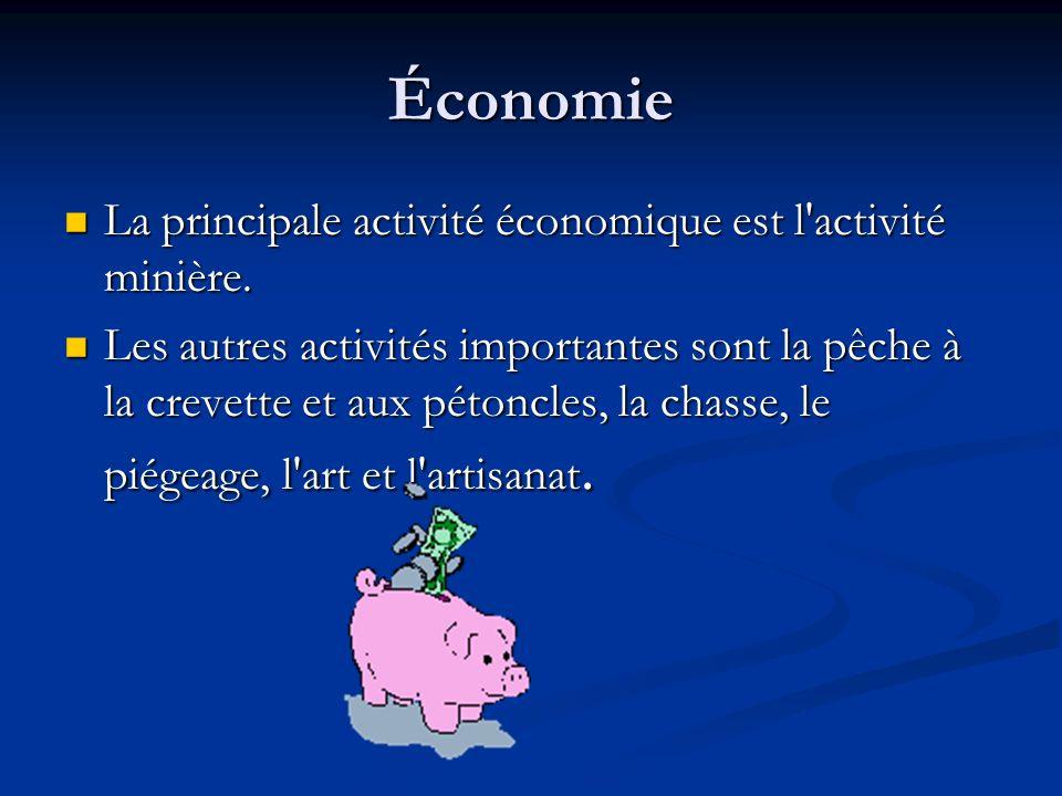Économie La principale activité économique est l activité minière.