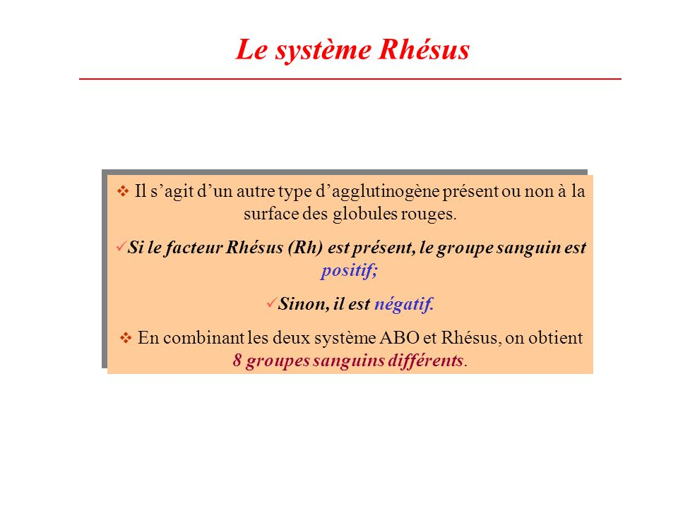 Si le facteur Rhésus (Rh) est présent, le groupe sanguin est positif;