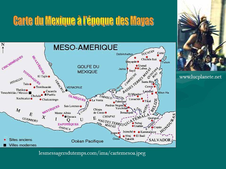 Carte du Mexique à l'époque des Mayas