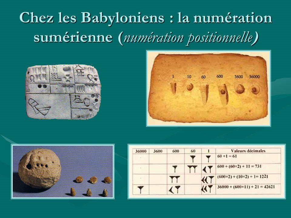 Chez les Babyloniens : la numération sumérienne (numération positionnelle)