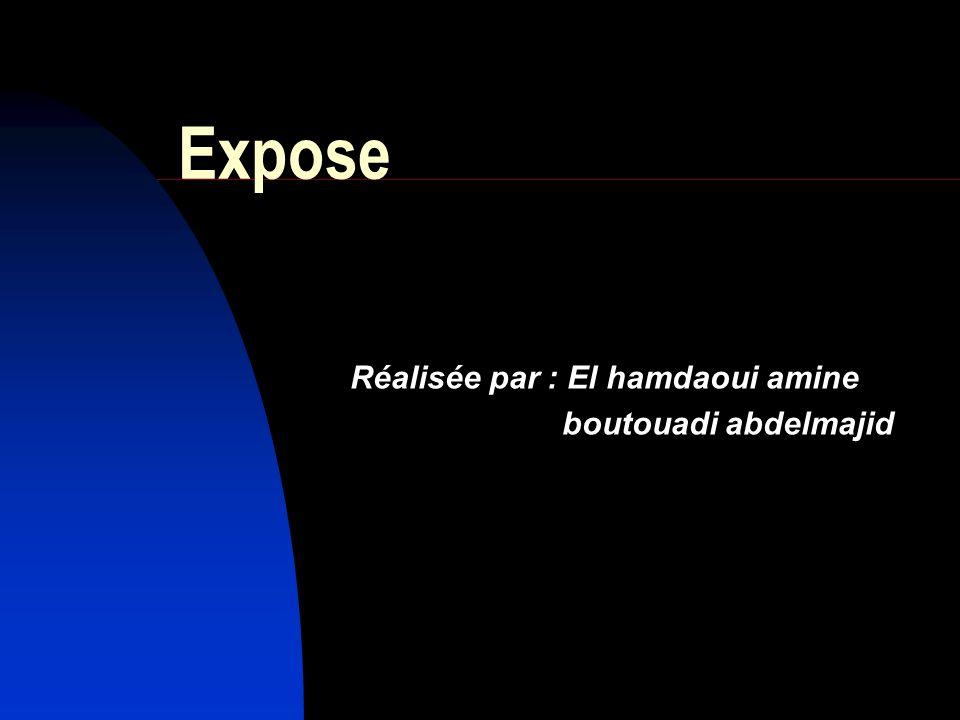 Réalisée par : El hamdaoui amine boutouadi abdelmajid