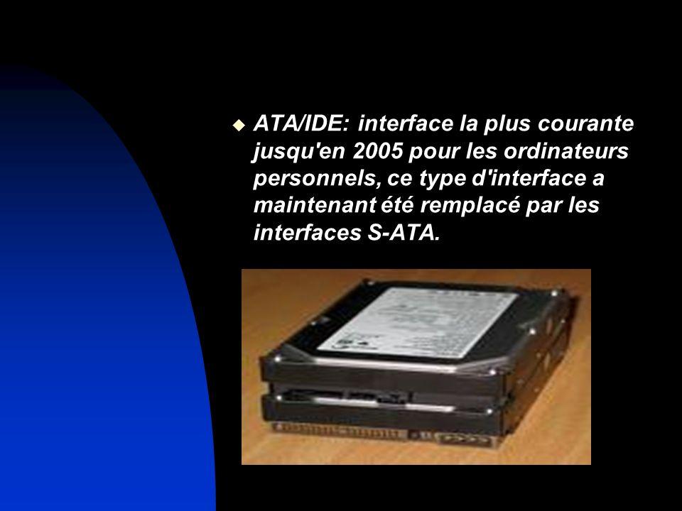 ATA/IDE: interface la plus courante jusqu en 2005 pour les ordinateurs personnels, ce type d interface a maintenant été remplacé par les interfaces S-ATA.