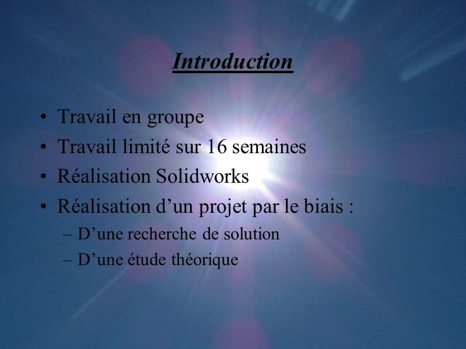 Introduction Travail en groupe Travail limité sur 16 semaines