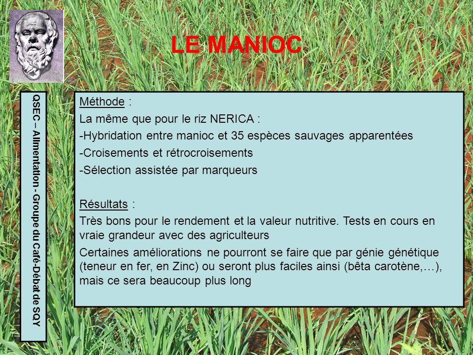 LE MANIOC Méthode : La même que pour le riz NERICA :