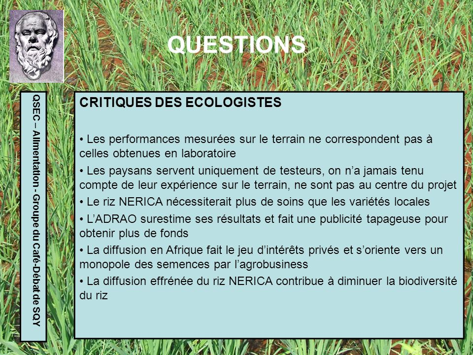 QUESTIONS CRITIQUES DES ECOLOGISTES