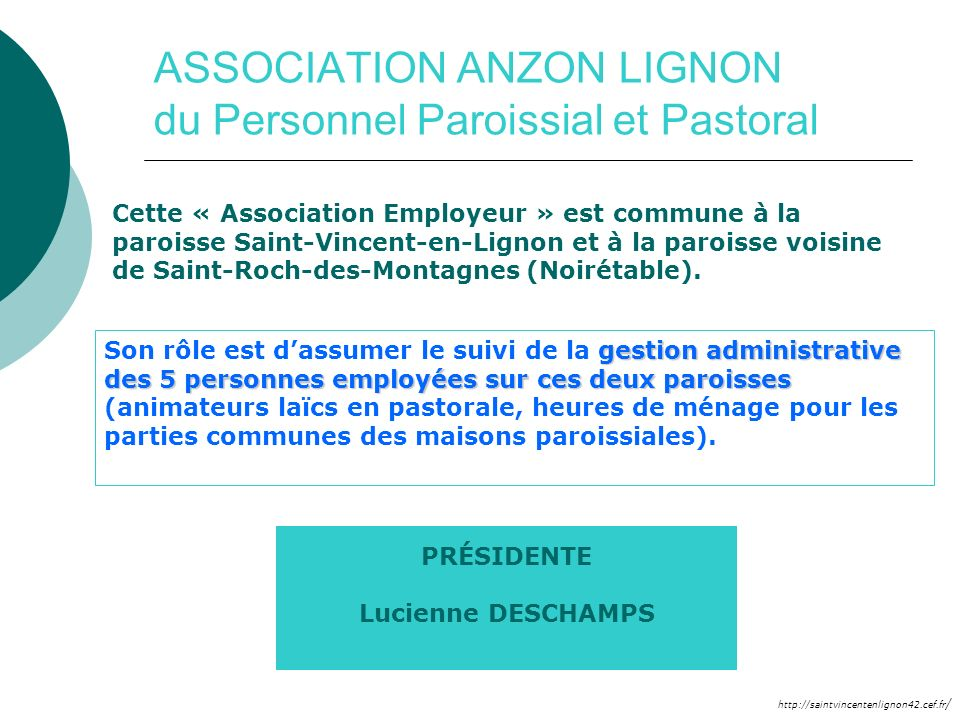 ASSOCIATION ANZON LIGNON du Personnel Paroissial et Pastoral