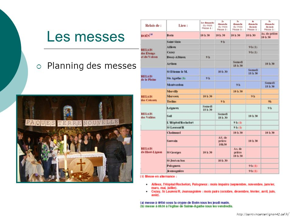 Les messes Planning des messes
