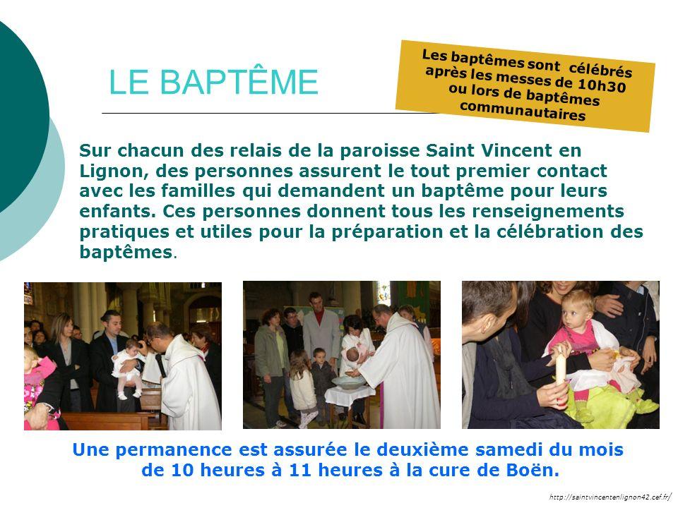 Les baptêmes sont célébrés après les messes de 10h30 ou lors de baptêmes communautaires