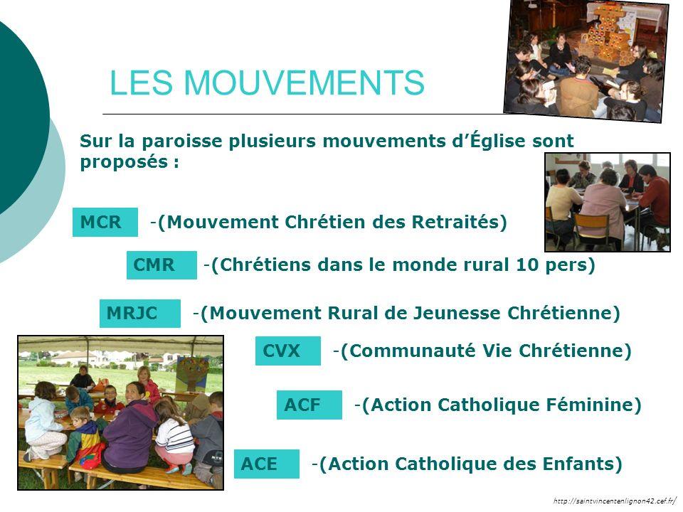 LES MOUVEMENTS Sur la paroisse plusieurs mouvements d'Église sont proposés : MCR. (Mouvement Chrétien des Retraités)