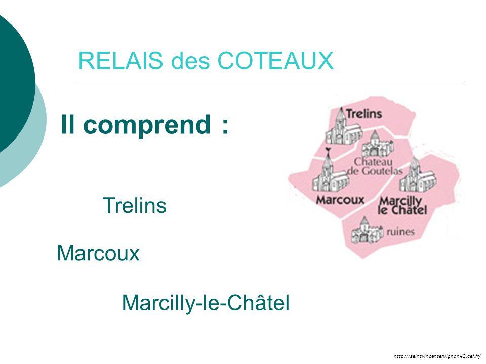 RELAIS des COTEAUX Il comprend : Trelins Marcoux Marcilly-le-Châtel