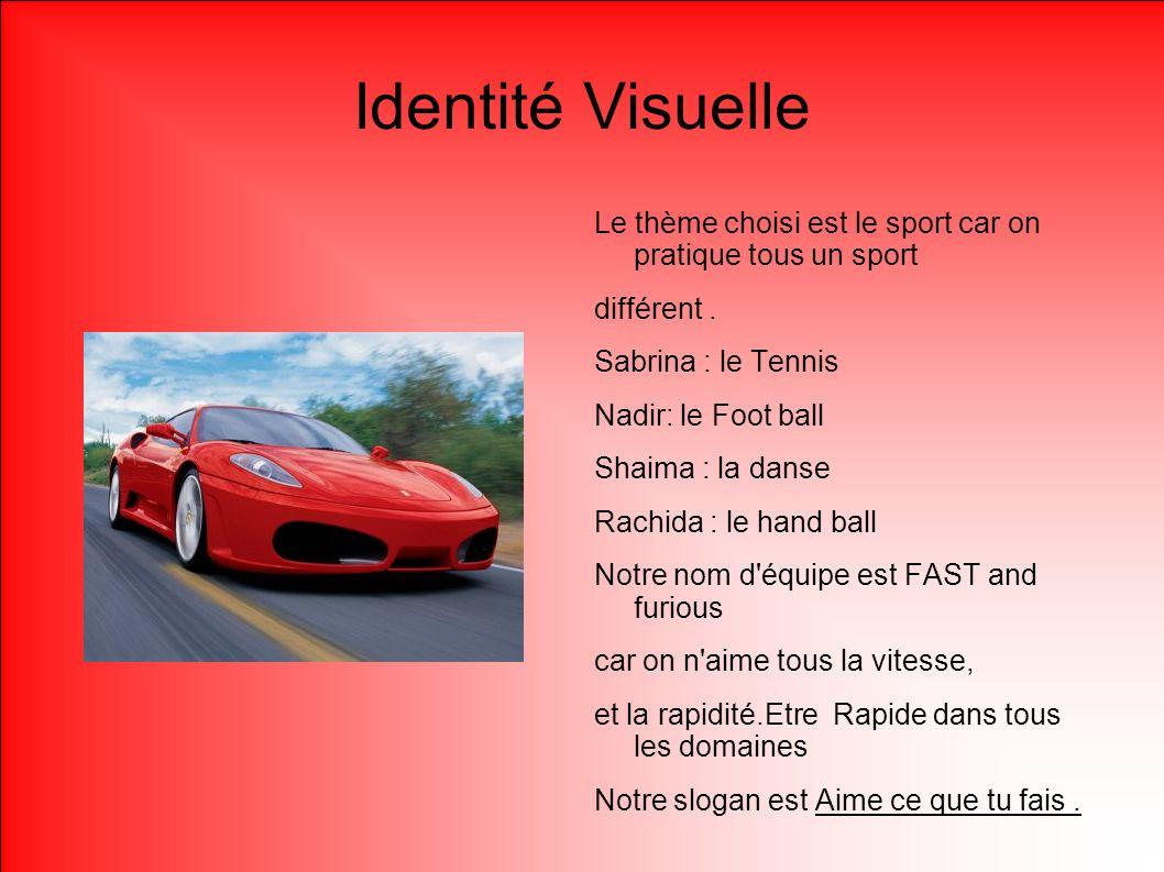 Identité Visuelle Le thème choisi est le sport car on pratique tous un sport. différent .