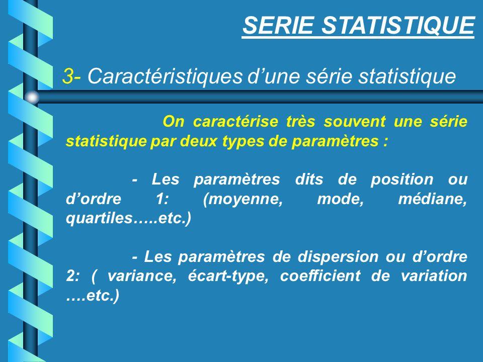 SERIE STATISTIQUE 3- Caractéristiques d'une série statistique