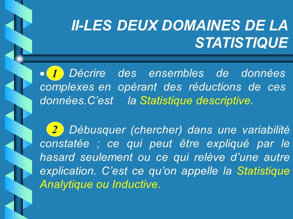 II-LES DEUX DOMAINES DE LA STATISTIQUE