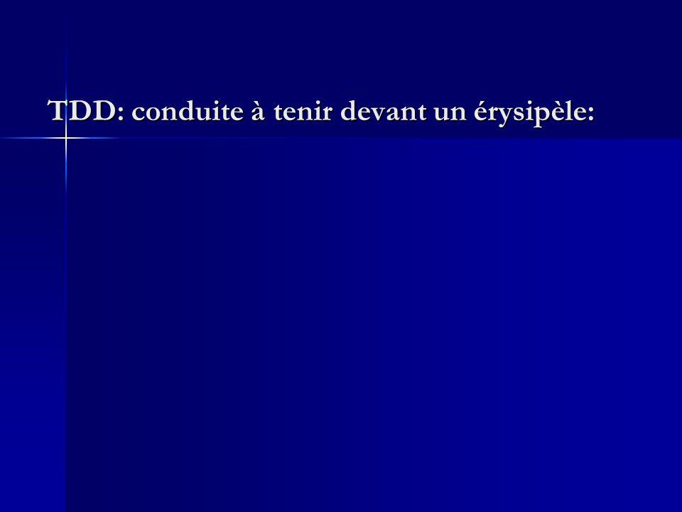 TDD: conduite à tenir devant un érysipèle:
