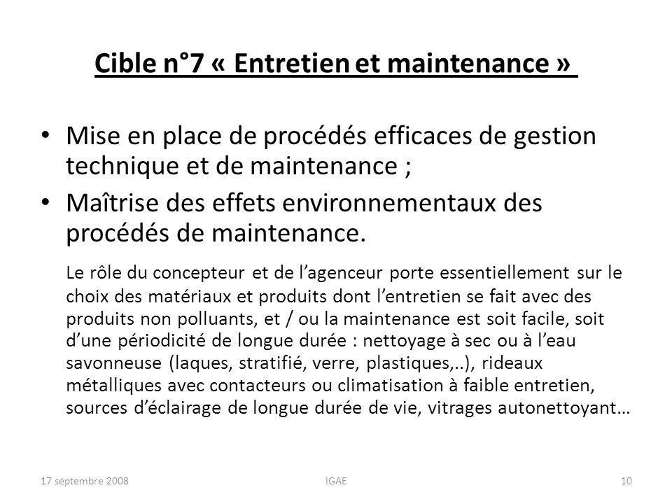 Cible n°7 « Entretien et maintenance »