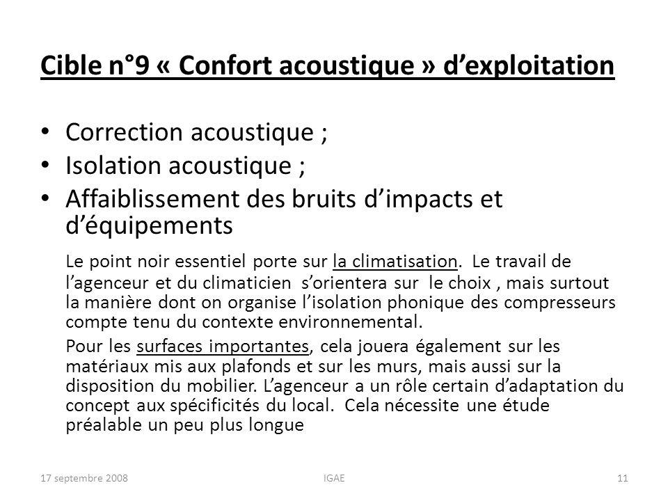 Cible n°9 « Confort acoustique » d'exploitation