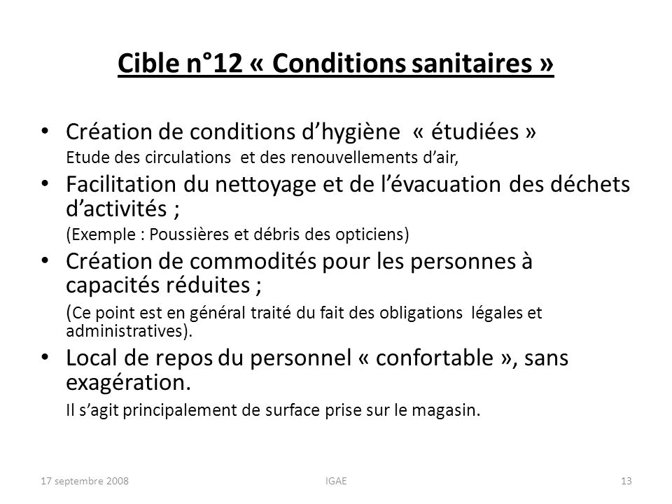 Cible n°12 « Conditions sanitaires »