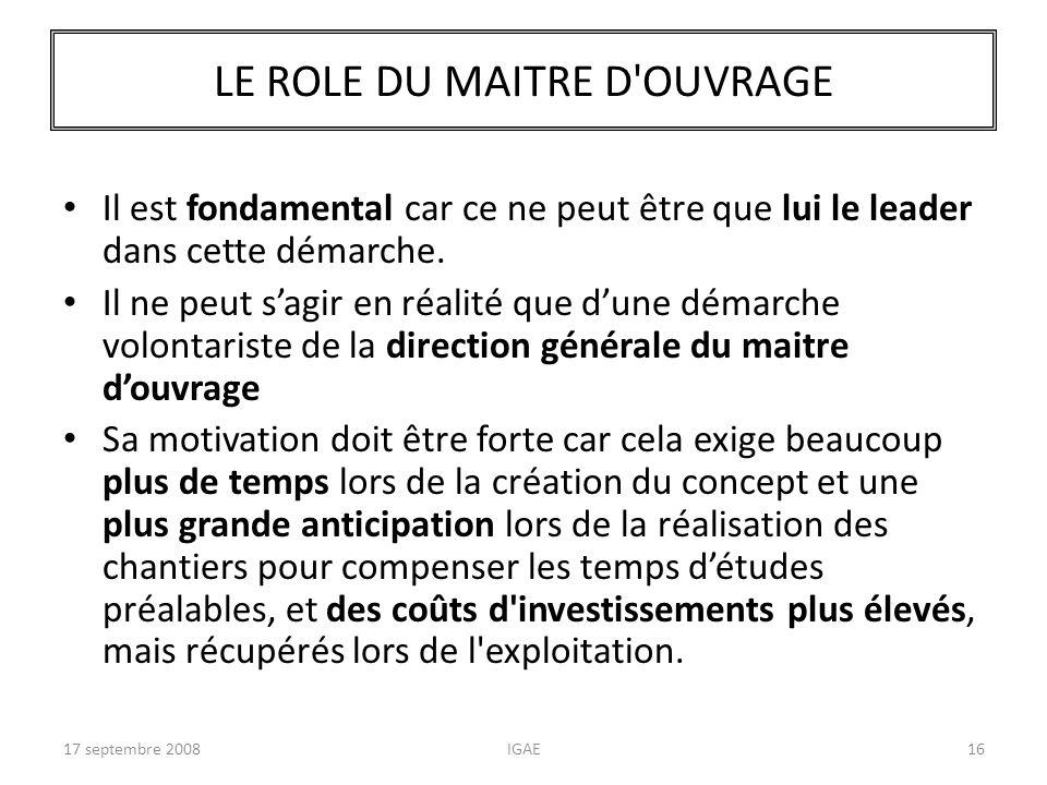 LE ROLE DU MAITRE D OUVRAGE
