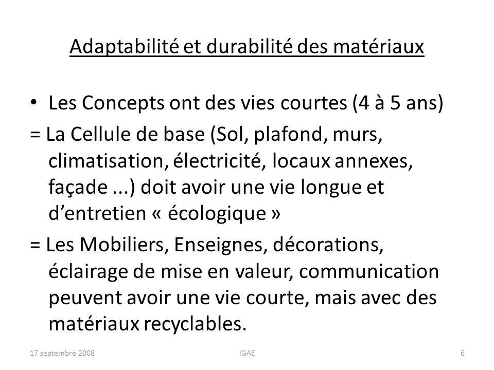 Adaptabilité et durabilité des matériaux
