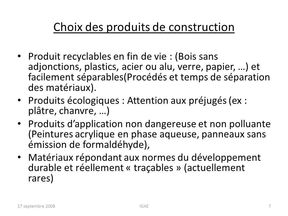 Choix des produits de construction