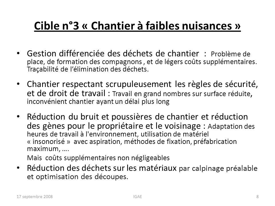 Cible n°3 « Chantier à faibles nuisances »