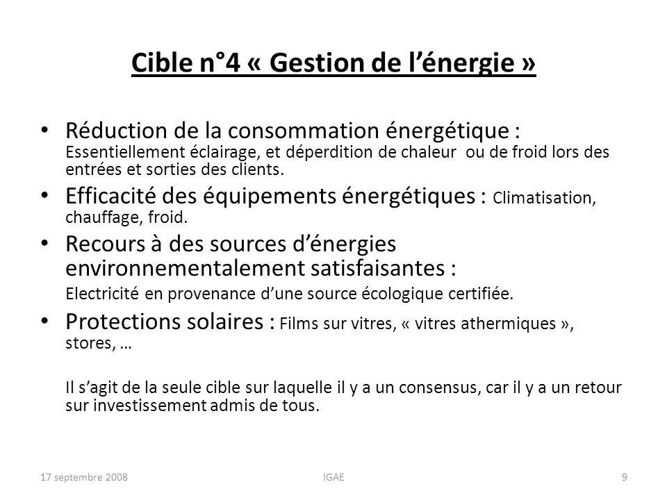 Cible n°4 « Gestion de l'énergie »