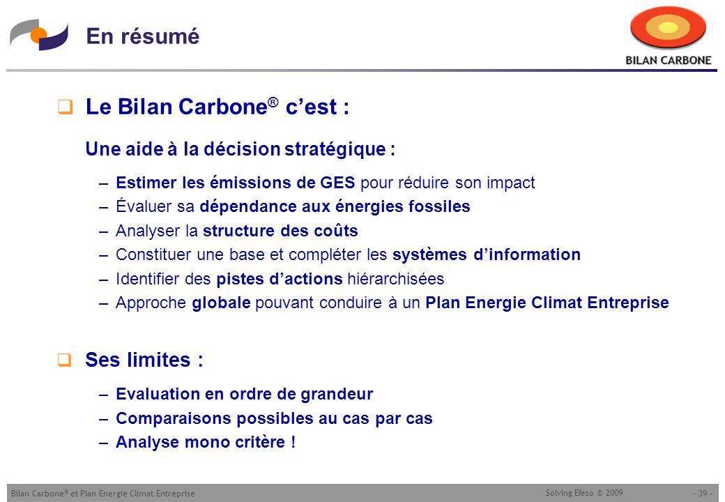 Le Bilan Carbone® c'est :