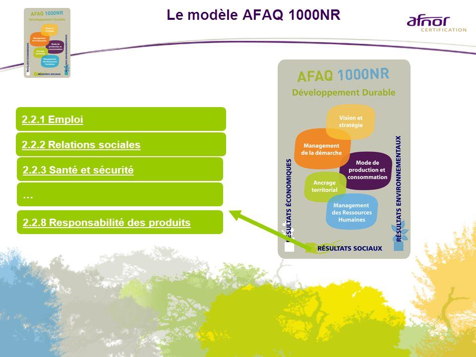 Le modèle AFAQ 1000NR 2.2.1 Emploi 2.2.2 Relations sociales