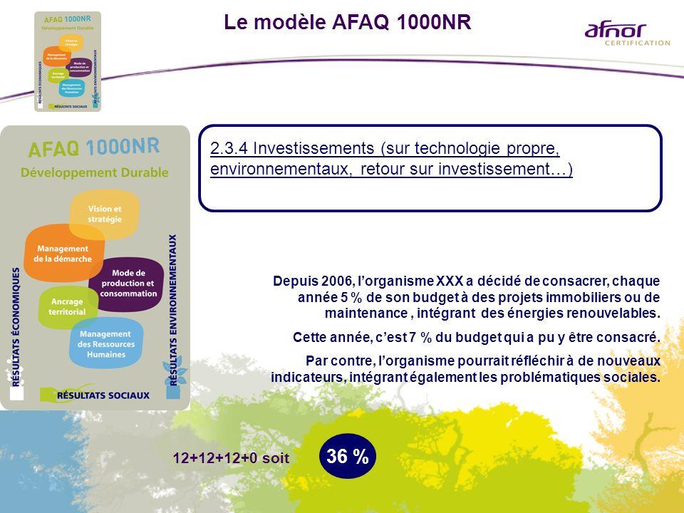 Le modèle AFAQ 1000NR 2.3.4 Investissements (sur technologie propre, environnementaux, retour sur investissement…)
