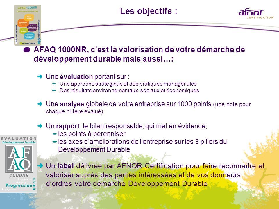 Les objectifs : AFAQ 1000NR, c'est la valorisation de votre démarche de développement durable mais aussi…: