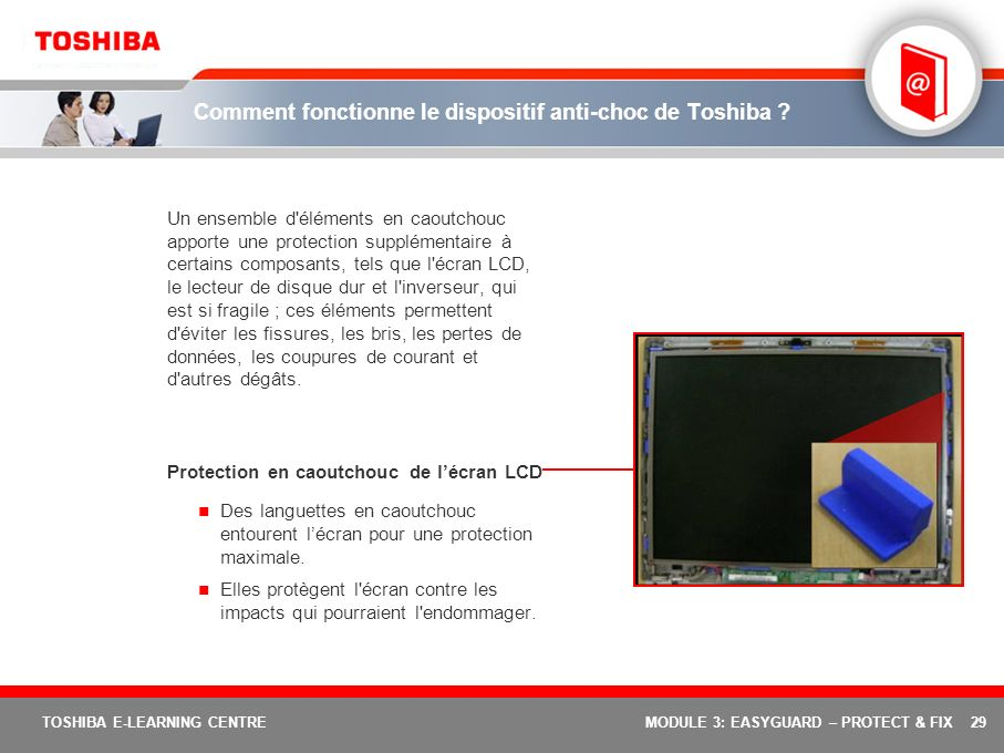 Comment fonctionne le dispositif anti-choc de Toshiba