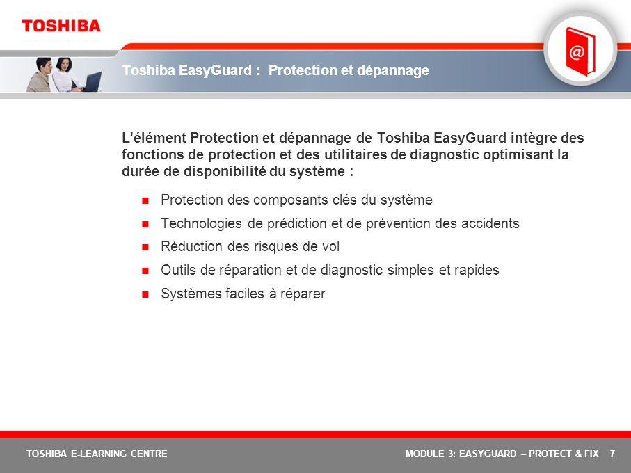 Toshiba EasyGuard : Protection et dépannage