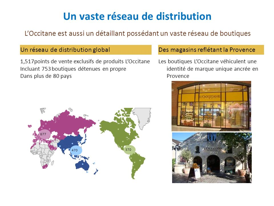 Un vaste réseau de distribution
