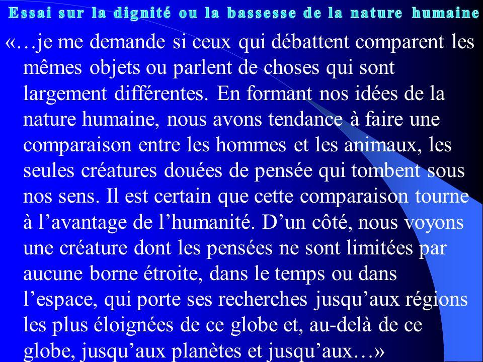 Essai sur la dignité ou la bassesse de la nature humaine