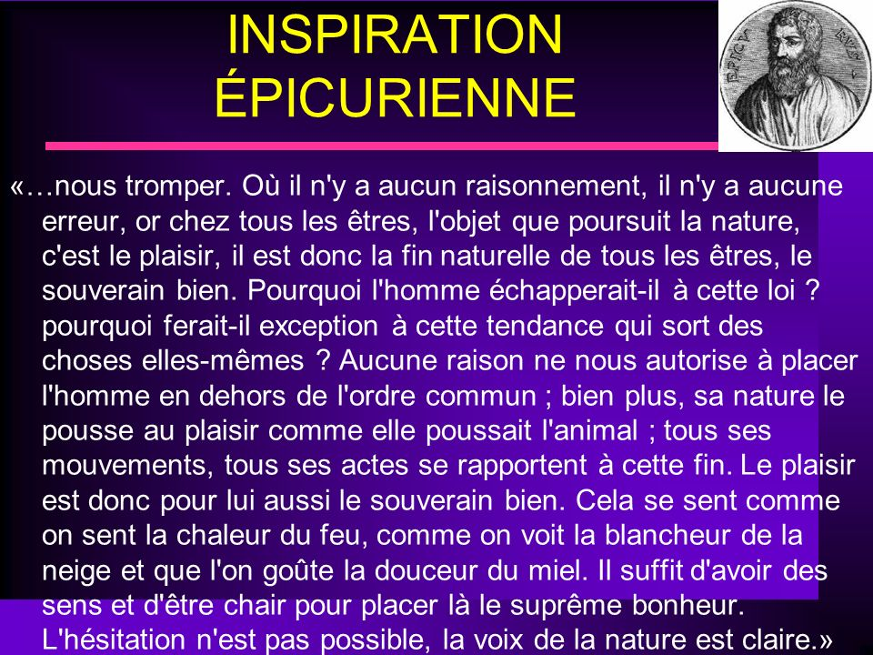 INSPIRATION ÉPICURIENNE