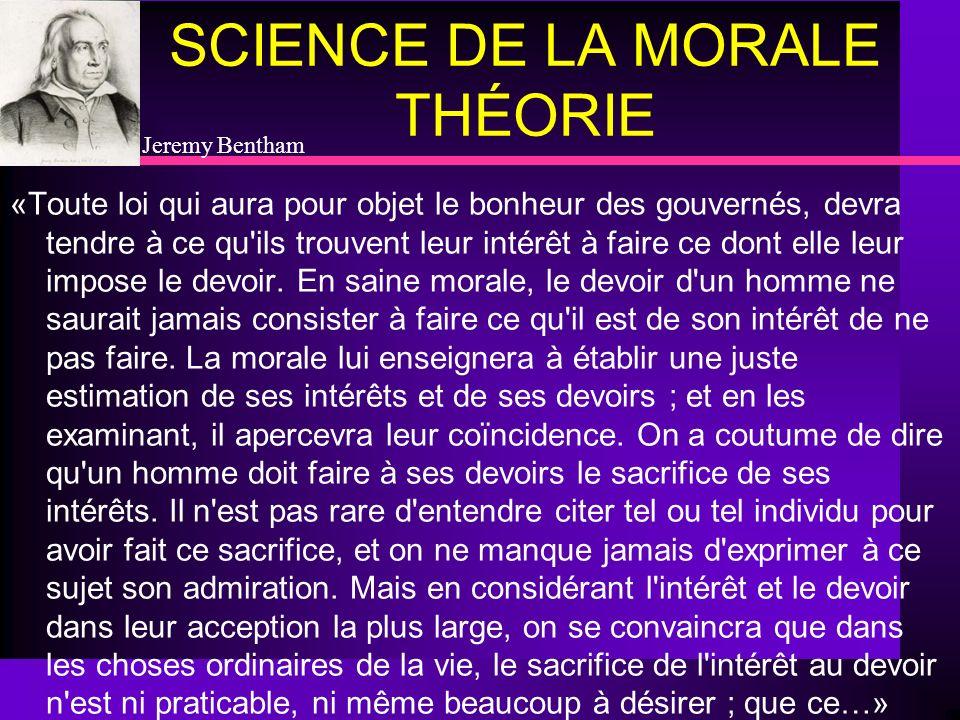 SCIENCE DE LA MORALE THÉORIE