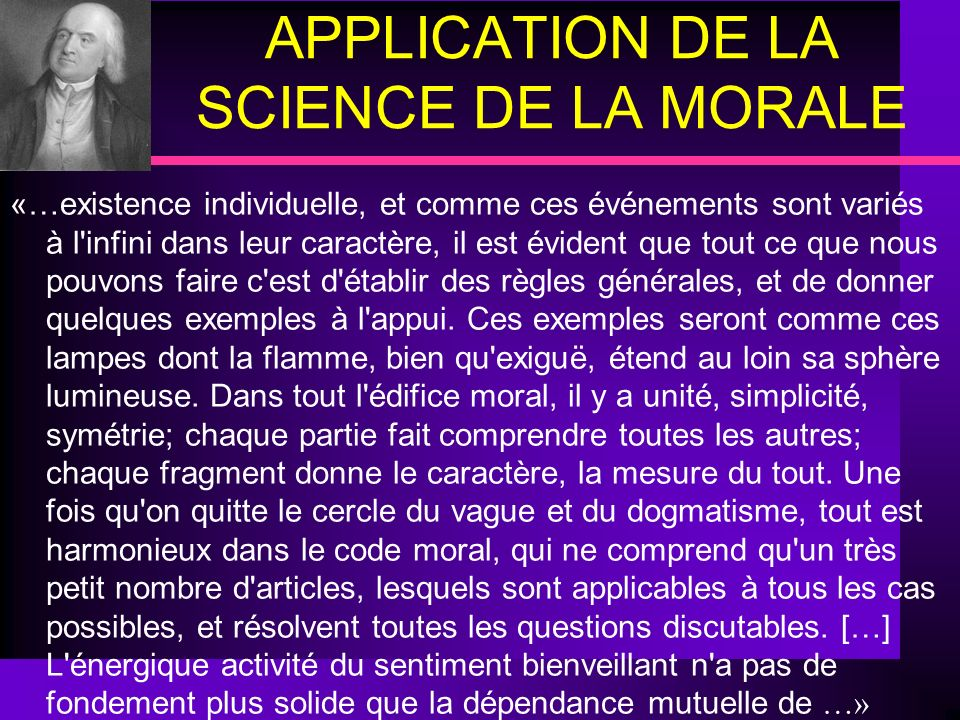 APPLICATION DE LA SCIENCE DE LA MORALE