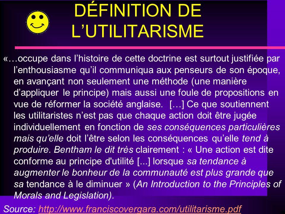 DÉFINITION DE L'UTILITARISME