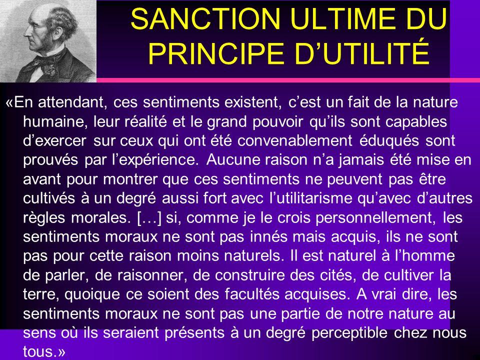 SANCTION ULTIME DU PRINCIPE D'UTILITÉ