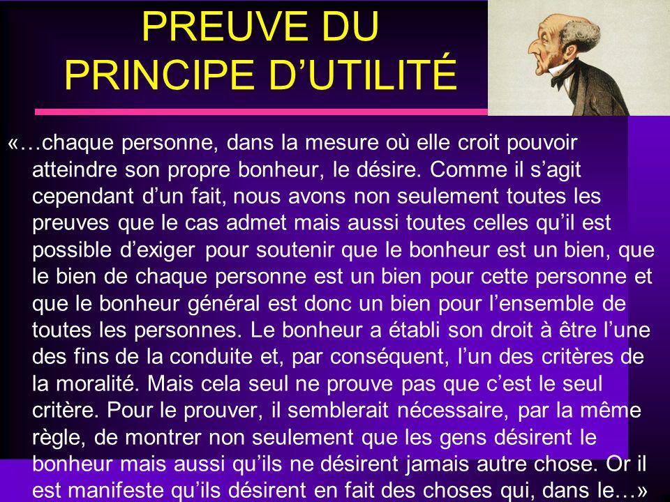 PREUVE DU PRINCIPE D'UTILITÉ