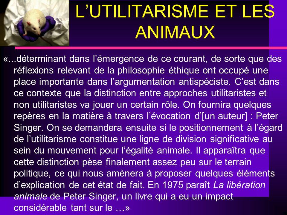 L'UTILITARISME ET LES ANIMAUX