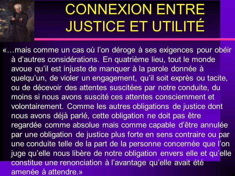 CONNEXION ENTRE JUSTICE ET UTILITÉ