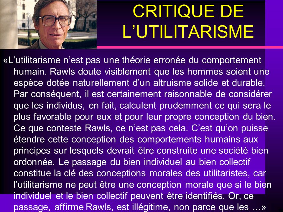 CRITIQUE DE L'UTILITARISME
