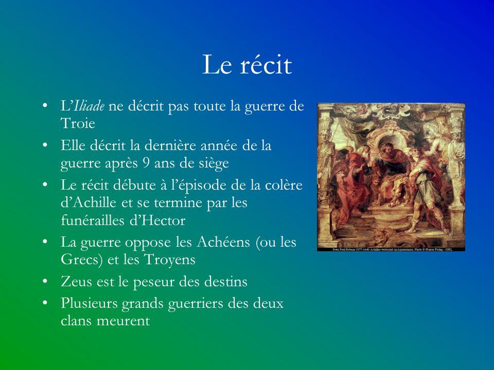 Le récit L'Iliade ne décrit pas toute la guerre de Troie