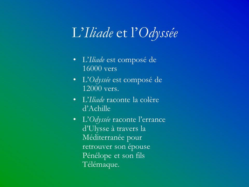 L'Iliade et l'Odyssée L'Iliade est composé de 16000 vers