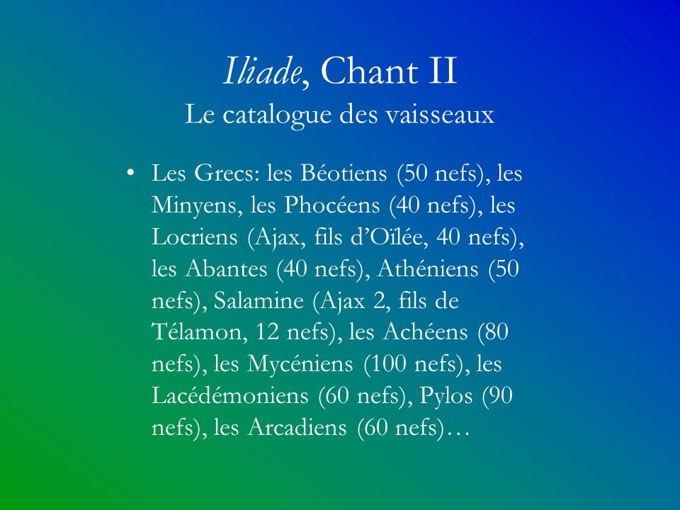 Iliade, Chant II Le catalogue des vaisseaux