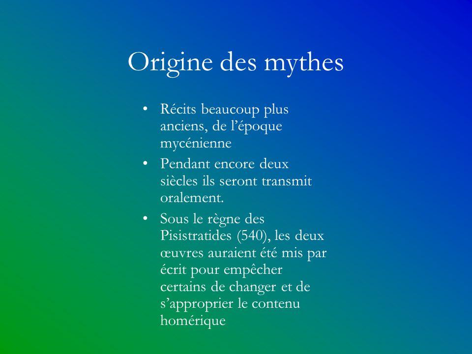 Origine des mythes Récits beaucoup plus anciens, de l'époque mycénienne. Pendant encore deux siècles ils seront transmit oralement.