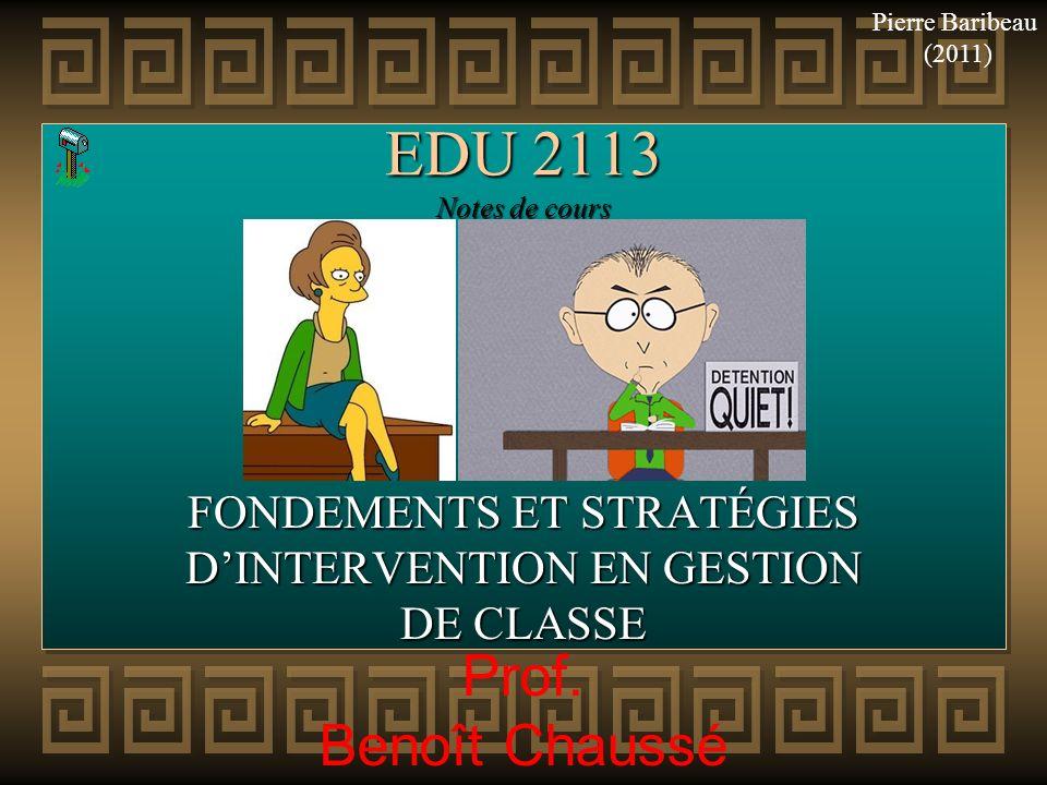 FONDEMENTS ET STRATÉGIES D'INTERVENTION EN GESTION DE CLASSE