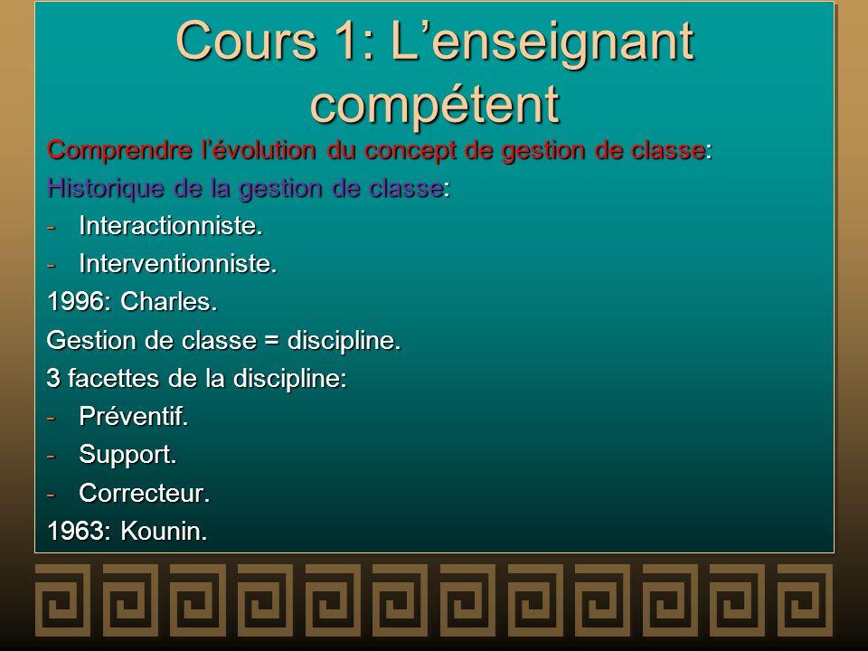 Cours 1: L'enseignant compétent