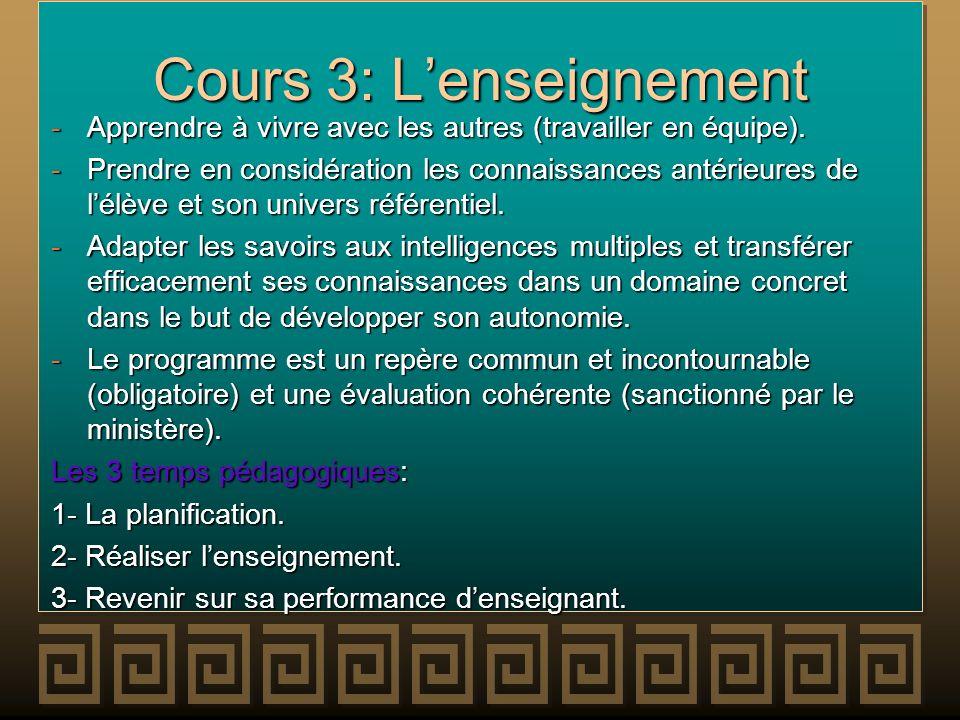 Cours 3: L'enseignement